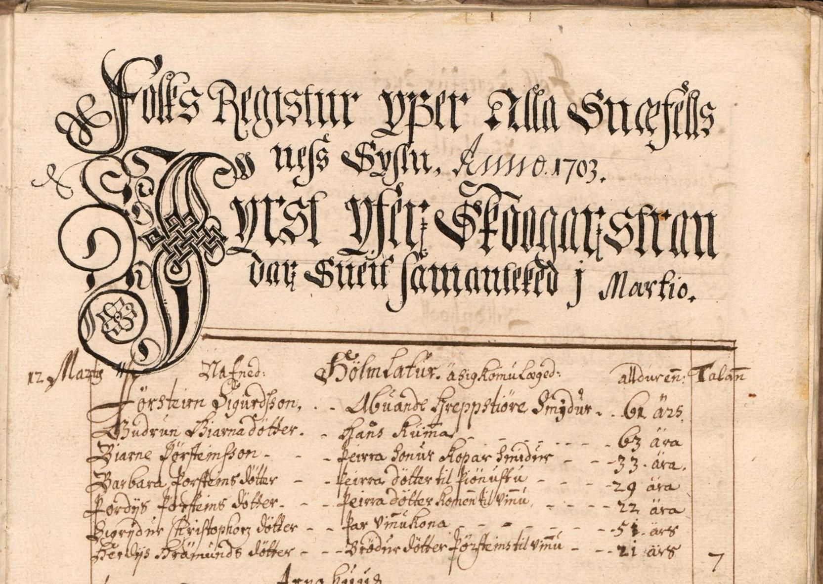 Manntalið 1703. Upphaf fólkstals á Skógarströnd, Snæf.